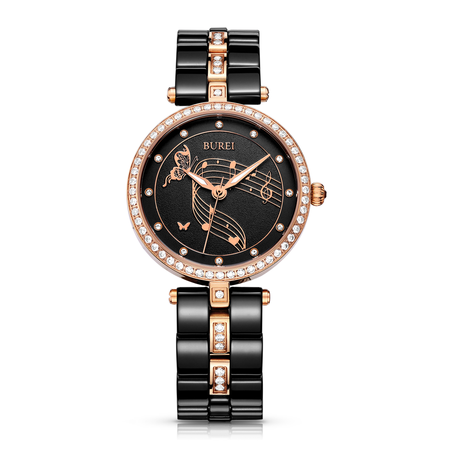 BUREI 3029 Switzerland watch Women Dress Watches with Swarovski Crystal-Accented Black Ceramic and Rose Gold-Tone vince camuto women s vc 5186chgb swarovski crystal accented gold tone multi function bracelet watch