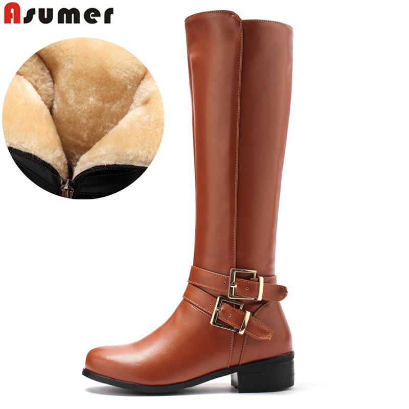 ASUMER Large size 34-46 women knee high boots buckle with zip Retro women's motorcycle boots thick fur warm winter snow boots faux fur buckle knee high snow boots