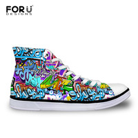 FORUDESIGNS Graffiti Ladies with Platform Vulcanize Casual Flats Summer Shoes Women Walking Shoes Student High Top Canvas Shoes