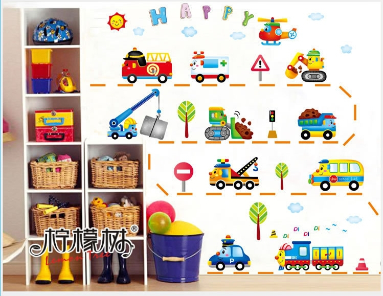 Aliexpress.com : Buy Baby Boys Cars Troops Paper Wall Stickers Cartoon  Traffic Games Wallpaper Decals Kids Home Bedroom Nursery Fridge DIY Decor  From ...