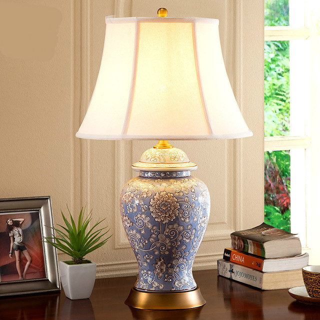 Classical hand painted ceramic fabric e27 dimmer table lamp for classical hand painted ceramic fabric e27 dimmer table lamp for living room bedroom study h 67cm mozeypictures Images