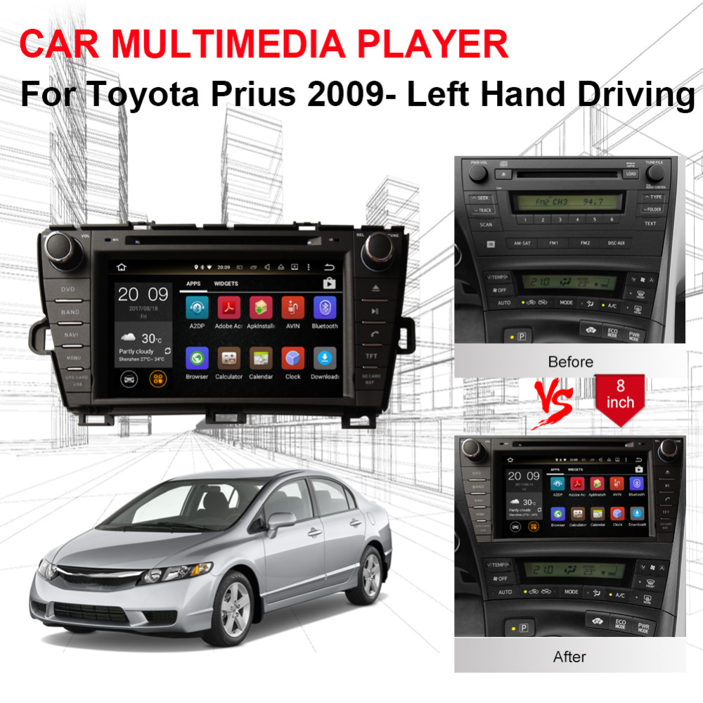 Excellent Android 8.0 Octa Core 4GB RAM Car Radio Stereo GPS Navigation For Toyota Prius 2009- Left Hand Driving DVD Multimedia Player 3