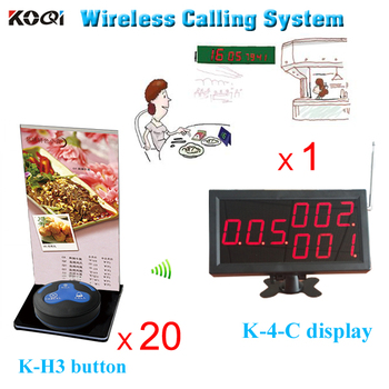 restaurant table call system 20pcs call bell with food menu holder and 1pc LED Monitor can show 3groups