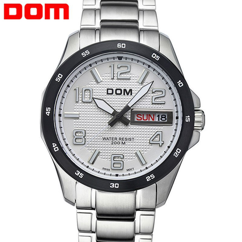Dom men's watch vintage commercial luminous watch calendar waterproof sheet stainless steel table casual male watch