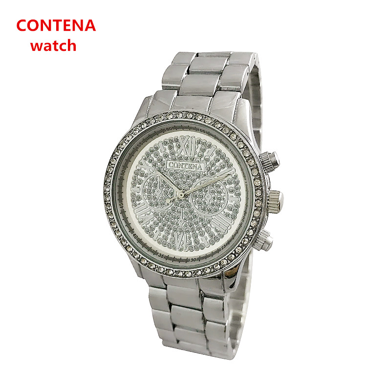 Япония Кварцевые золото женские часы contena модные брендовые женские из нержавеющей стали Водонепроницаемый Часы Relogio feminino