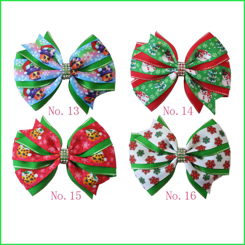 100 BLESSING Girl 4.5 Two Tone Wendy Hair Bow Clip Winter Halloween Christmas
