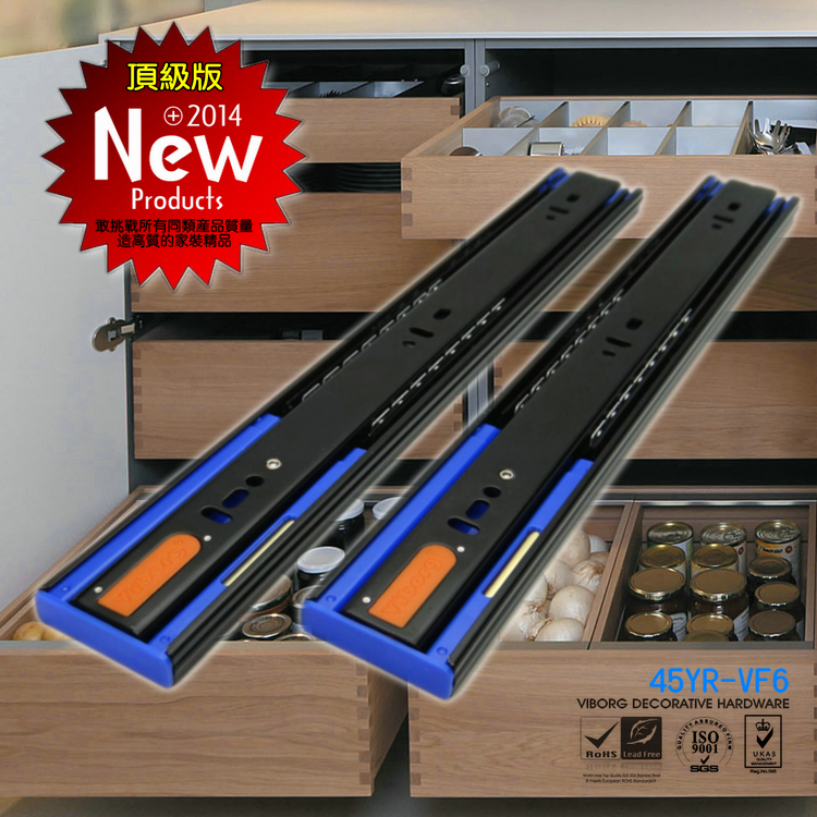 VIBORG 55CM 22 Top Quality Smooth Quiet Three Sections Hydraulic Soft Close Ball Bearing Drawer Slides