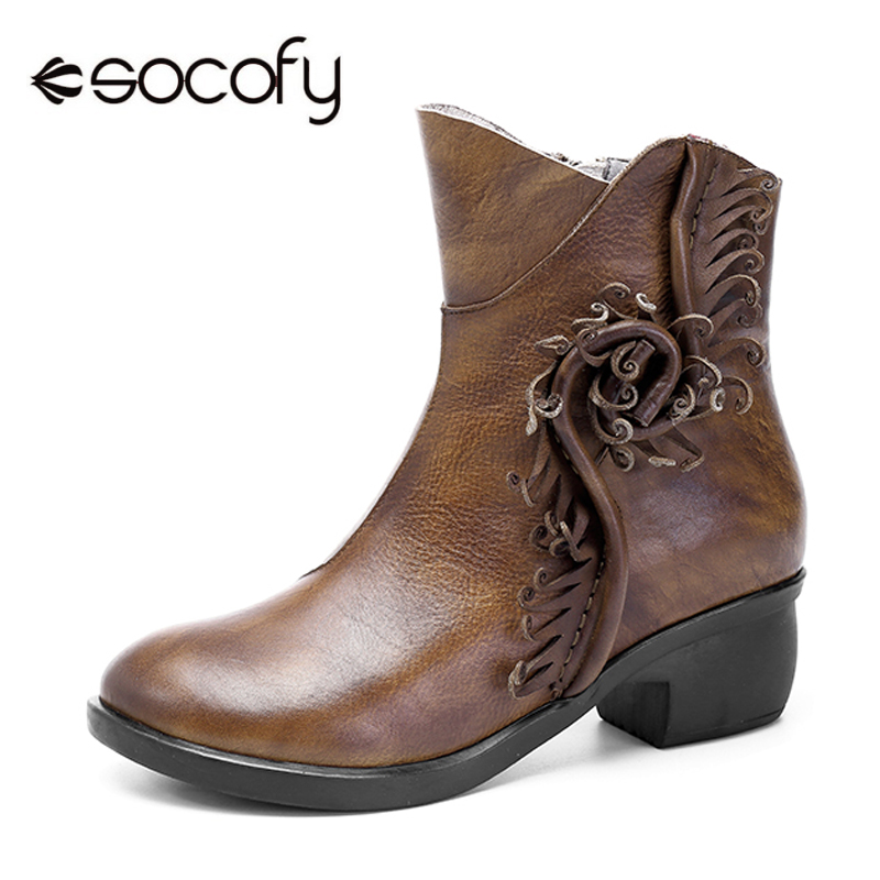Socofy Women Boots Winter Shoes Vintage Genuine Leather Flower Ankle Boots For Women Casual Shoes Zipper Block Mid Heels Botas stylish mid waist zipper fly blue ankle length jeans for women