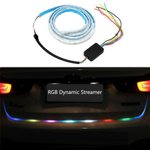 Car Rear Trunk Tail Light RGB Dynamic Streamer Brake Turn Signal Lamps Leds Warning Lights Strips