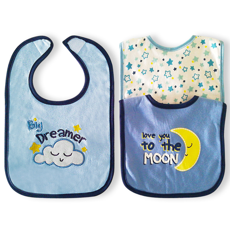 Baby bibs triangle double layers cotton cartoon animal print