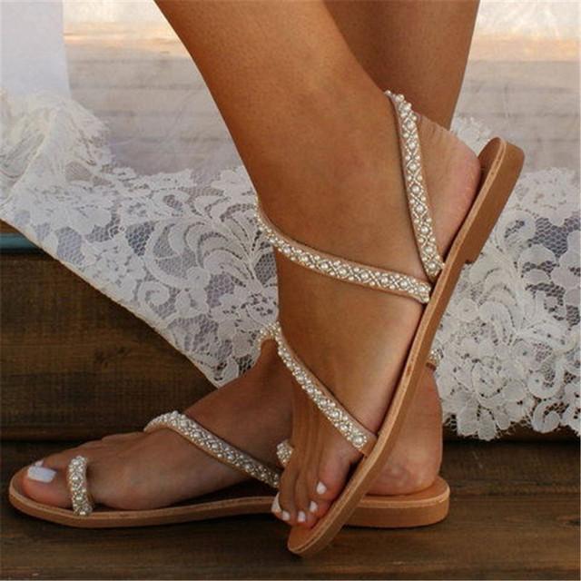 Boho Pearl Flat Sandals