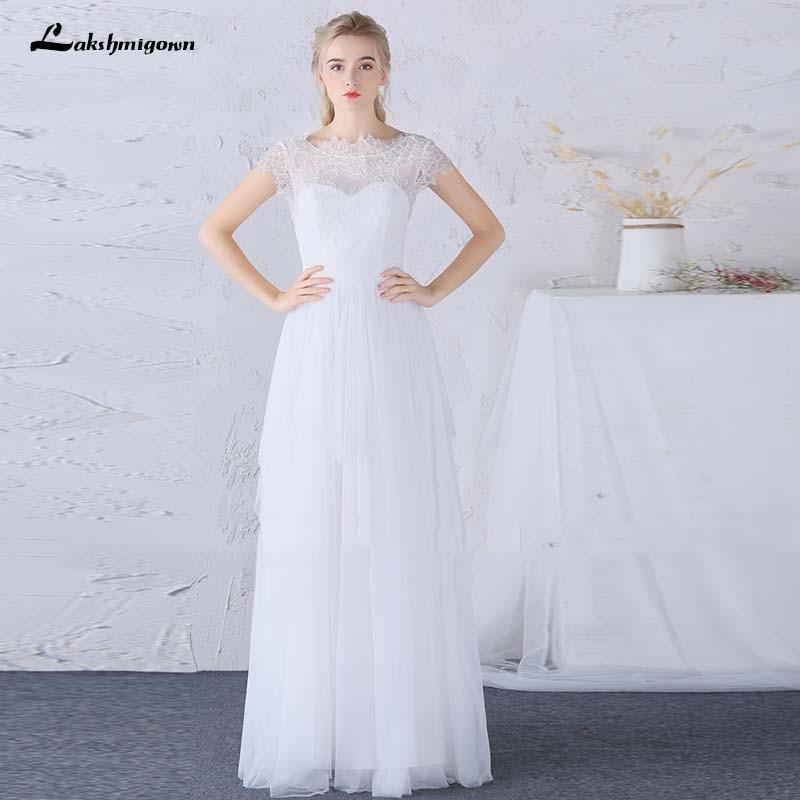 Ivory Greek Goddess 2017 Ivory Bohemia Wedding Dresses: Ivory Lace Wedding Dresses Short Sleeve Beach Boho Bridal
