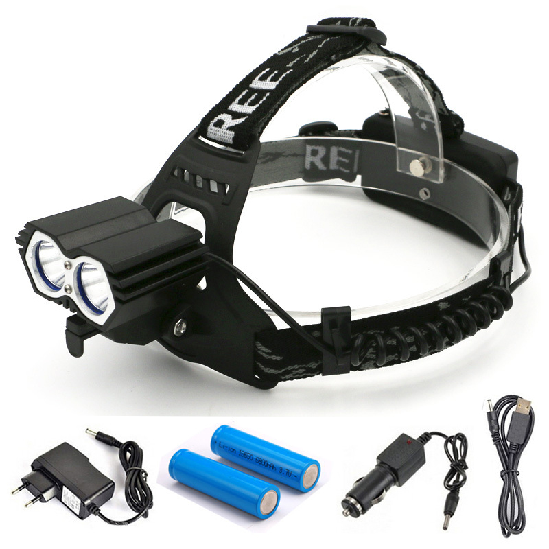 9000 Lumens Headlight Bicycle Bike light 2 LED XPE Head Lamp High Power Headlamp +2*18650 Battery +Charger+Car Charger