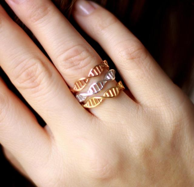 SMJEL New Trendy Lovely DNA Rings for Women Punk Biology Chemistry Molecule Ring