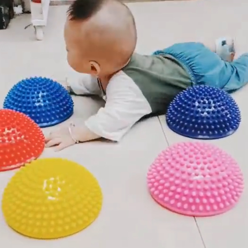 Children Hemisphere Stepping Stones Spiky Massage Balance Ball Yoga Half Ball Sensory Integration Ball Pump Free(China)