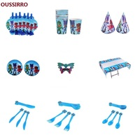 OUSSIRRO 69Pcs Set Children Birthday Party Cartoon Theme PJ MASK Decorate Dishes And Cup And Hat
