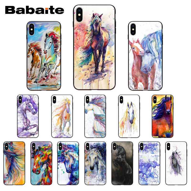 Babaiteสีน้ำม้าม้าน่ารักสำหรับiPhone 8 7 6 6S Plus X Xs Xr XsMax 5 5S SE 5c11 11pro 11Promax