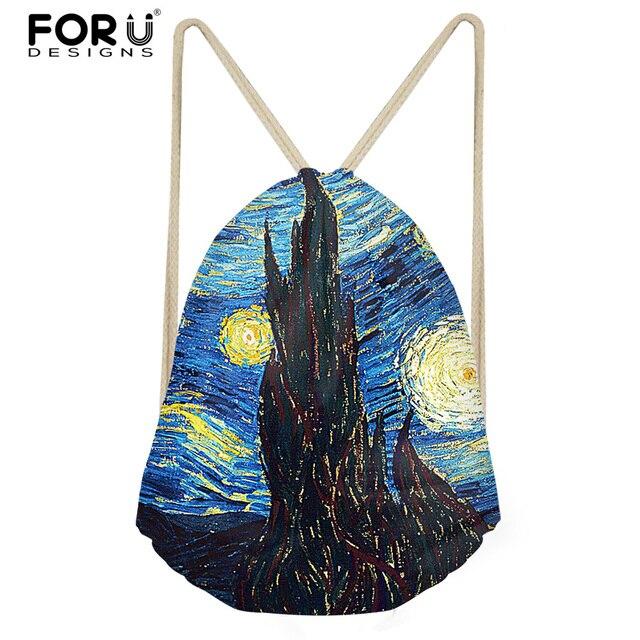 FORUDESIGNS Fashion Hand Paint Art Design Starry Night Small Women  Drawstring Bags Sport Female Galaxy Backpack Mochila Feminina 7af9583e4