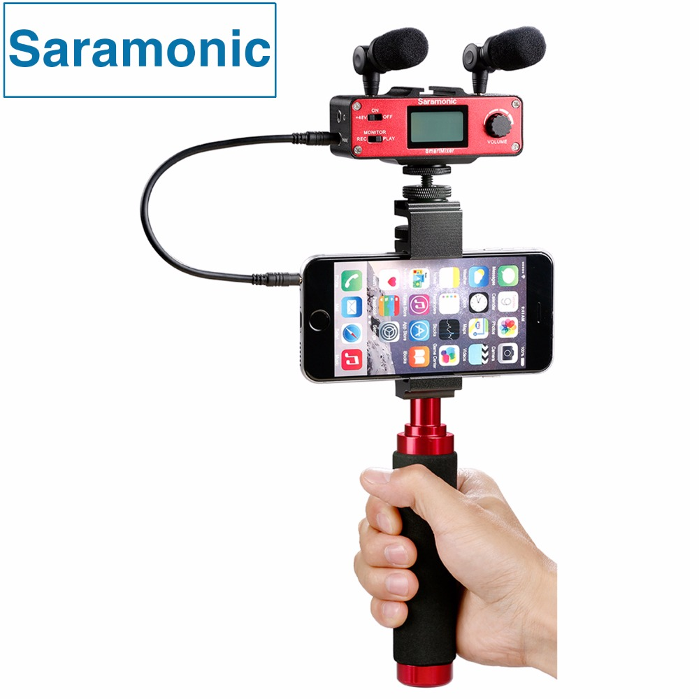 Saramonic SmartMixer Professional Handheld Recording Stereo Microphone Rig for iPhone7 6 6s 5s & Samsung Android Smartphones