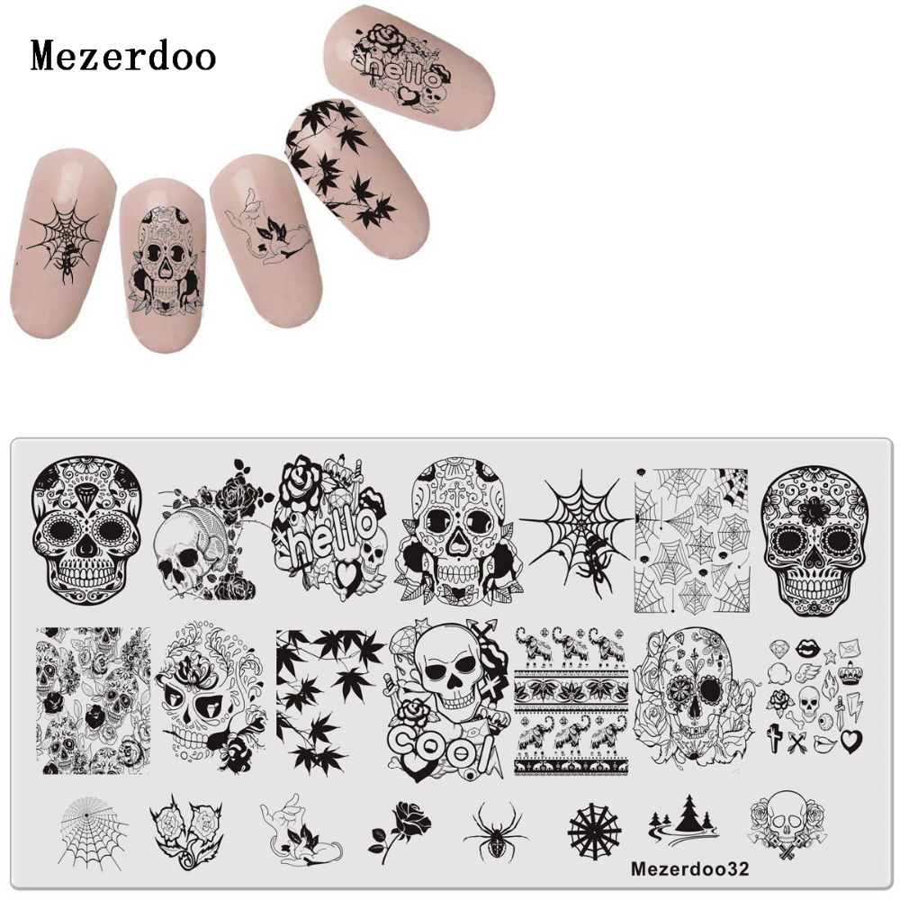 Skull and Spider Web Series Nail Art Estampación Plantilla Rectángulo 12 * 6cm Manicura Nail Art Imagen Placa