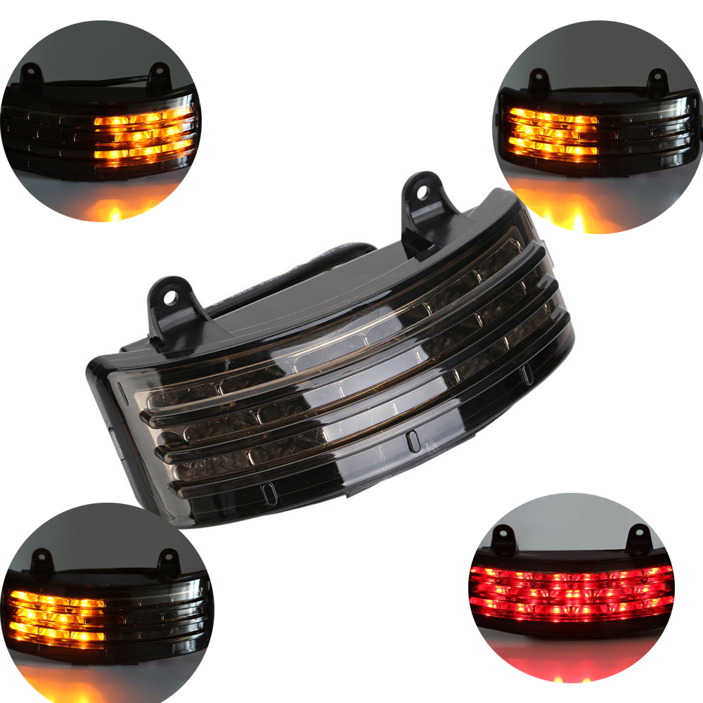 Motorcycle Tri-Bar LED Rear Fender Brake Tail Light Turn Signal Lamp Taillight For Harley Touring Street Glide FLHX FLTRX Smoke
