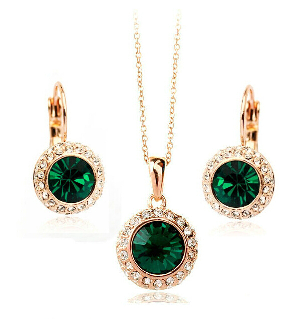 Austrian Crystal Wedding Crystal Jewelry Sets Vintage Moon River Rhinestone Top Quality Necklace Earrings