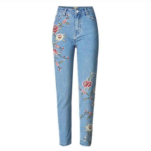 4244f30773 Pantalones Vaqueros bordados Ropa Americana Highwaist Flaco Pantalón Azul  Jeans Para Mujeres Mezclilla Delgada Femme 2017