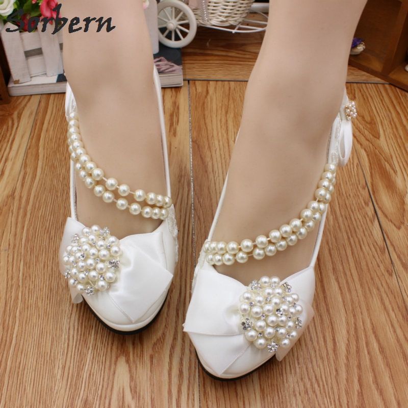 Sorbern White Satin Bowknot Beaded Shoes Woman Summer 2018 Heel Side Beading Chains Round Toe Shoe Size 33 Pumps Woman Shoes side bowknot embellished plus size sweatshirts page 1