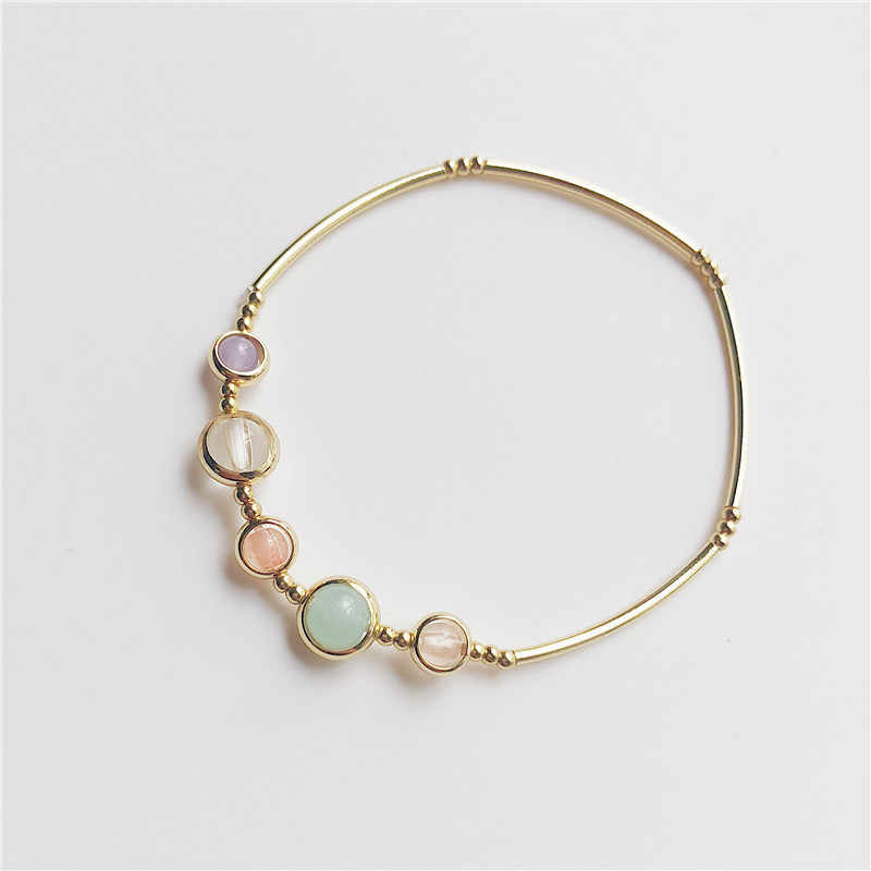 Fashion Lucky Stone Beads Bracelet Elastic For Women Girls Simple Style Gold Color Bangles Jewelry Birthday Gifts