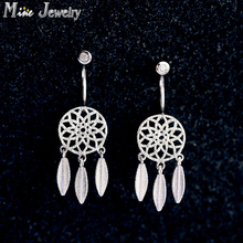 New ArrivalsFashion Hanging Feathers Dreamcatcher Earrings 925 Silver Stud Earrings For Ladies Jewellery
