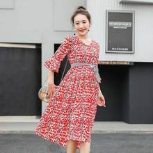 Floral Maternity Party Blouse Ruffle Sleeve Ties Waist V Neck Summer Fashion Clothes for Pregnant Women Elegant Pregnancy DF670(China)