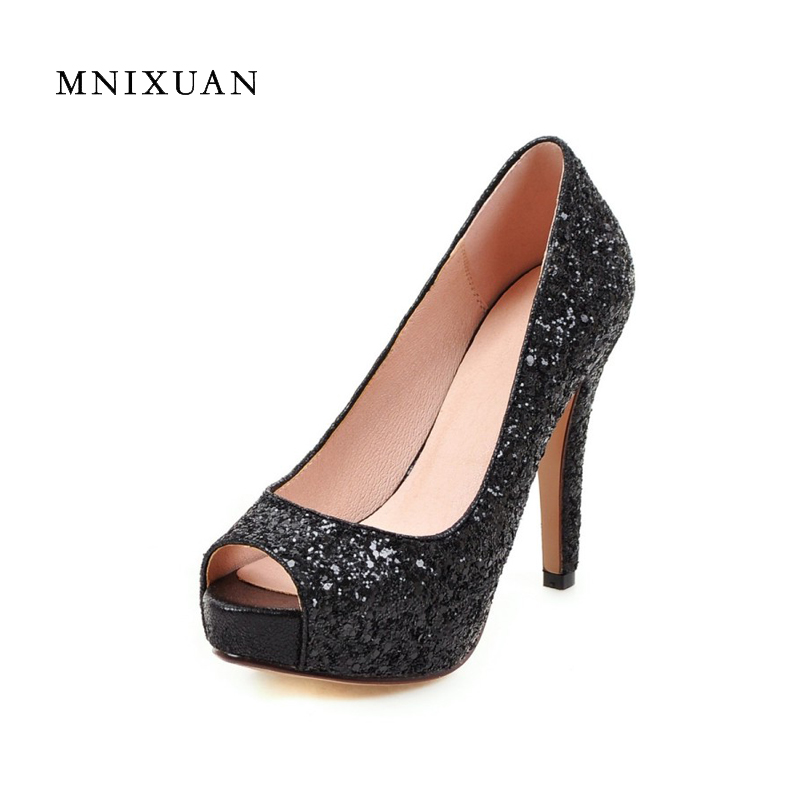 Fashion summer women shoes red sequin wedding shoes bridal 2017 bling sexy super high heels peep toe platform big size 41 42 43 бордр cersanit eilat multicolor 5x45