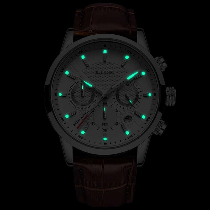 Lige 2019 novo relógio de moda dos homens do esporte relógio de quartzo dos relógios marca de luxo couro negócios à prova dwaterproof água relógio relogio masculino