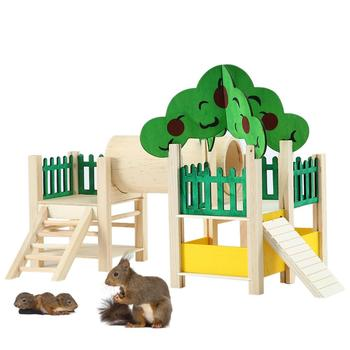 Wooden Hamster Playstand Playground Perch Gym Stand Playpen Ladders Exercise Playgym With Feeder Cage Accessories Exercise Toy