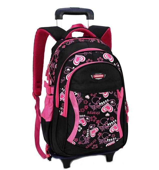Trolley Children School Bags For Girls Backpack Wheeled Kids