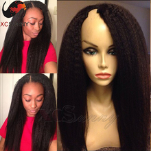 Kinky Straight U Part Wig Brazilian Unprocessed Virgin U Part Human Hair Wigs Iight Yaki Side Part Upart Wig For Black Women