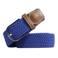 Unisex Multi Colors For Choosing Brand Male Knitted Pin Buckle Polyester Strap Women Elastic Braided Belts