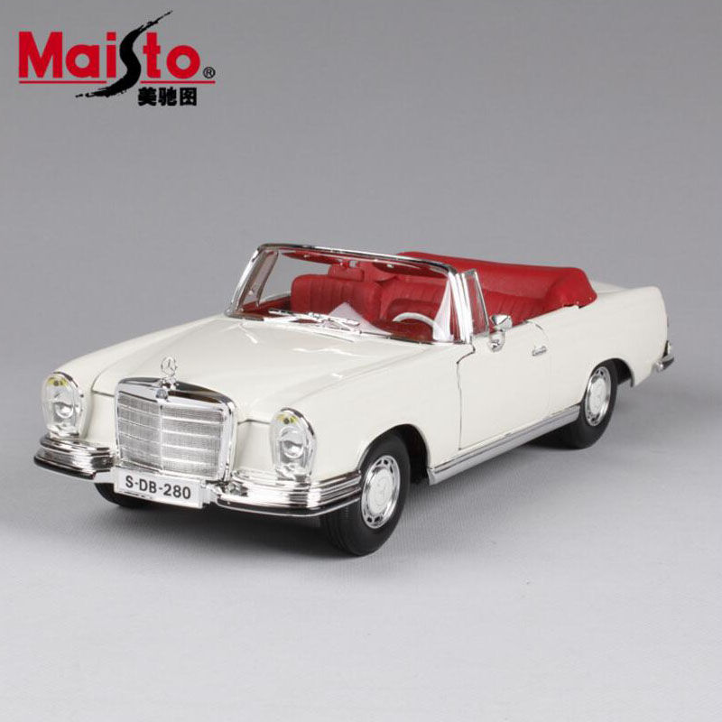1:18 Scale maisto hot mini kid's miniature 1967 Benz 280SE vintage metal diecast auto free wheels cars model gift toys for boys 1 18 scale maisto classic children 1956 chrysler 300b antique vintage car metal diecast vehicle gift model kids toys collectible
