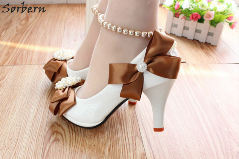 Sorbern Brown Bow White Wedding Shoes 8Cm High Heels Beaded Buckles Beading  Straps Platform Heeled Bridal Shoes Real Photos-in Women s Pumps from Shoes  on ... 258ef2a7858f