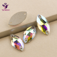04d28b0a13 YANRUO Crystal AB 3223 Navette 6x12 7x15 9x18mm Sew on Rhinestones Horse  eye Crystal Stone Beads Sewing Glass Stones for dress