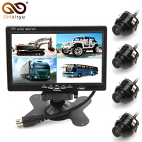 Sinairyu Car Reverse Backup Camera Front Rear Left Righ 7 4 Split Quad TFT LCD Display
