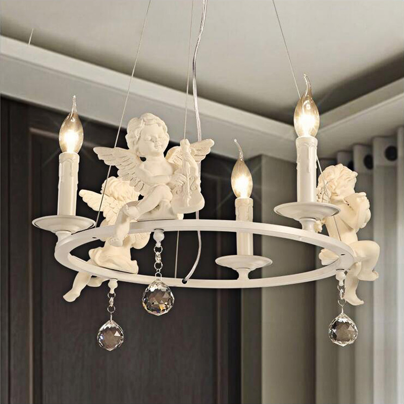Nordic fashion personality creative living room children s room warm bedroom Angel chandelier