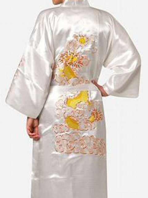 をファッションホワイト中国メンズシルクサテンローブ刺繍着物バースガウンドラゴン SML XL XXL XXXL S0013