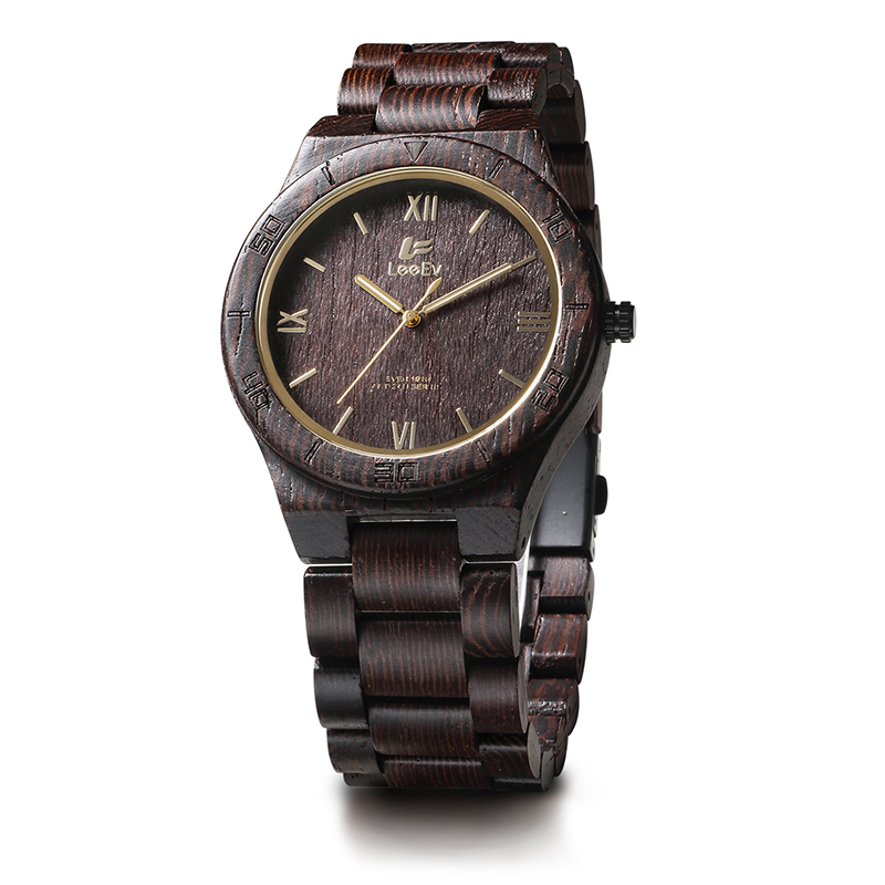 LeeEv EV1918 Mens Natural Wenge Wood Watch Analog Quartz Light Weight Vintage Wooden Wrist Watch