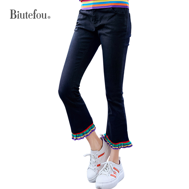 2019 Spring denim flare pants embroidery slim women skinny   jeans