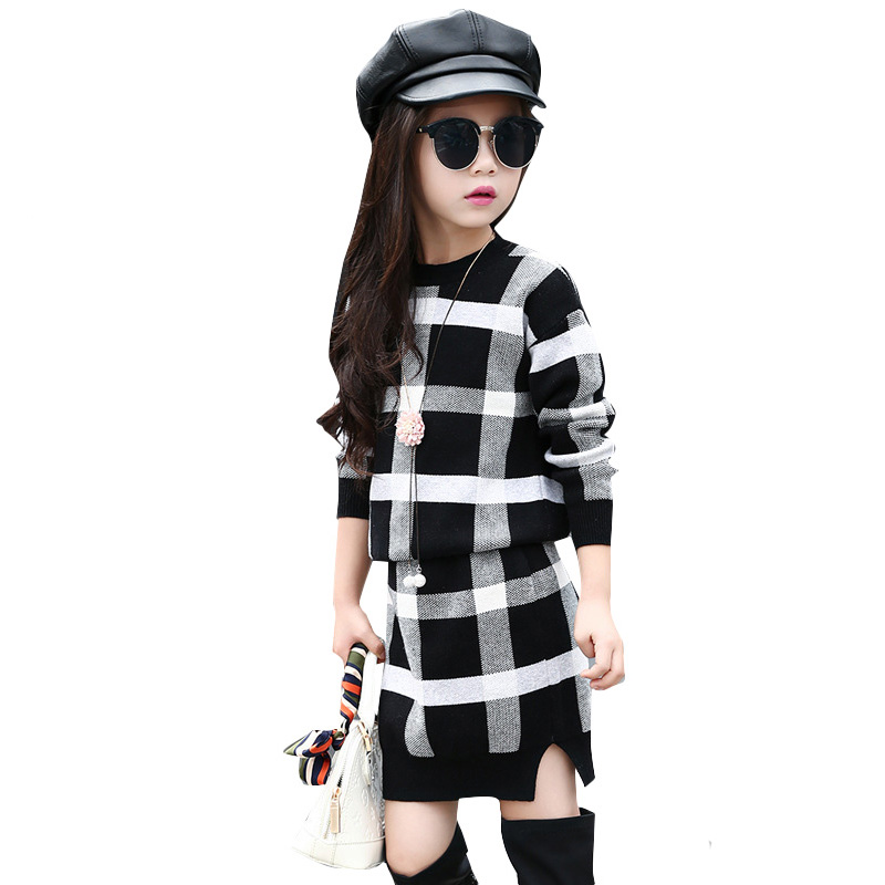 d2d823b37934 2018 Kids Girls Clothes Set Sweater Outerwear + Solid Skirt 2PCS ...