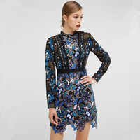 autumn Women dress fashion runway vintage mini long sleeve lace sexy vestidos bodycon slim Self Portrait summer dress