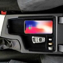 Qi bezprzewodowa ładowarka samochodowa dla BMW serii 3 F30 F31 F32 F34 dla iphone telefon z systemem android ładowarka samochodowa schowek w podłokietniku akcesoria do pudełek