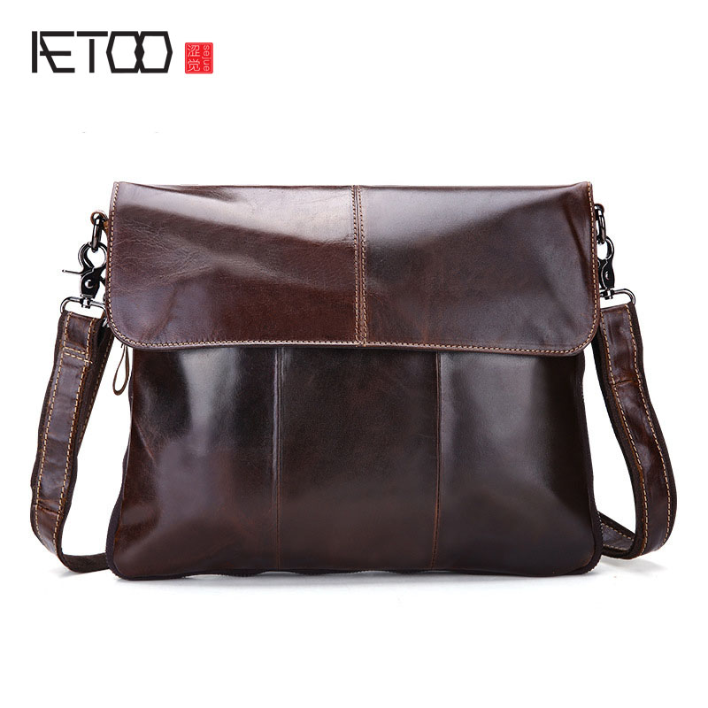 AETOO Handbags Cowhide Genuine Leather Men Bags Fashion Shoulder Crossbody Bags Ipaid Messenger Bag Man Leather Men's Travel Bag augur men s messenger bag multifunction canvas leather crossbody bag men military army vintage large shoulder bag travel bags