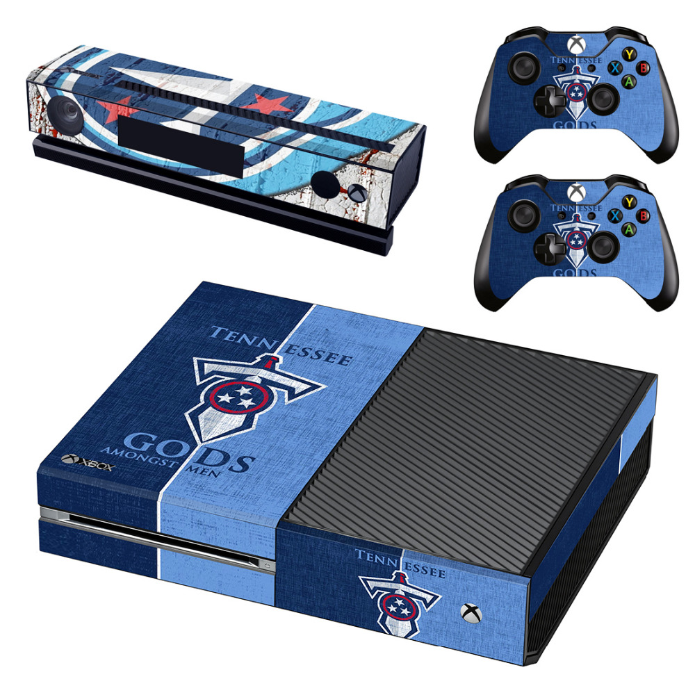 NFL Tennessee Titans Decal Skin Sticker for Microsoft Xbox One Kinect and Console and 2 Controllers Vinyl Game Stickers